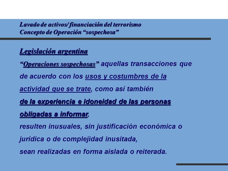 Lavado de activos/ financiación del terrorismo Concepto de Operación sospechosa Legislación argentina Operaciones sospechosasOperaciones sospechosas a