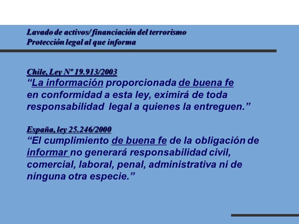 Lavado de activos/ financiación del terrorismo Protección legal al que informa Chile, Ley Nº 19.913/2003 La información proporcionada de buena fe en c