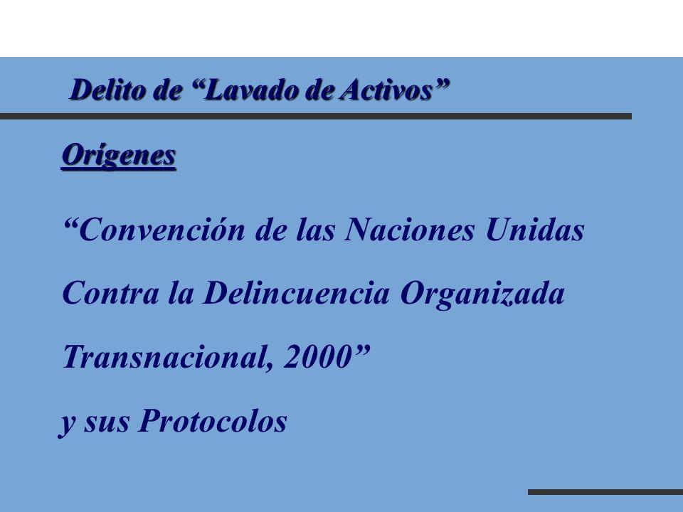Delito de Lavado de Activos Delito de Lavado de ActivosOrígenes Convención de las Naciones Unidas Contra la Delincuencia Organizada Transnacional, 200