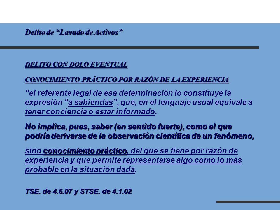 Delito de Lavado de Activos DELITO CON DOLO EVENTUAL CONOCIMIENTO PRÁCTICO POR RAZÓN DE LA EXPERIENCIA el referente legal de esa determinación lo cons