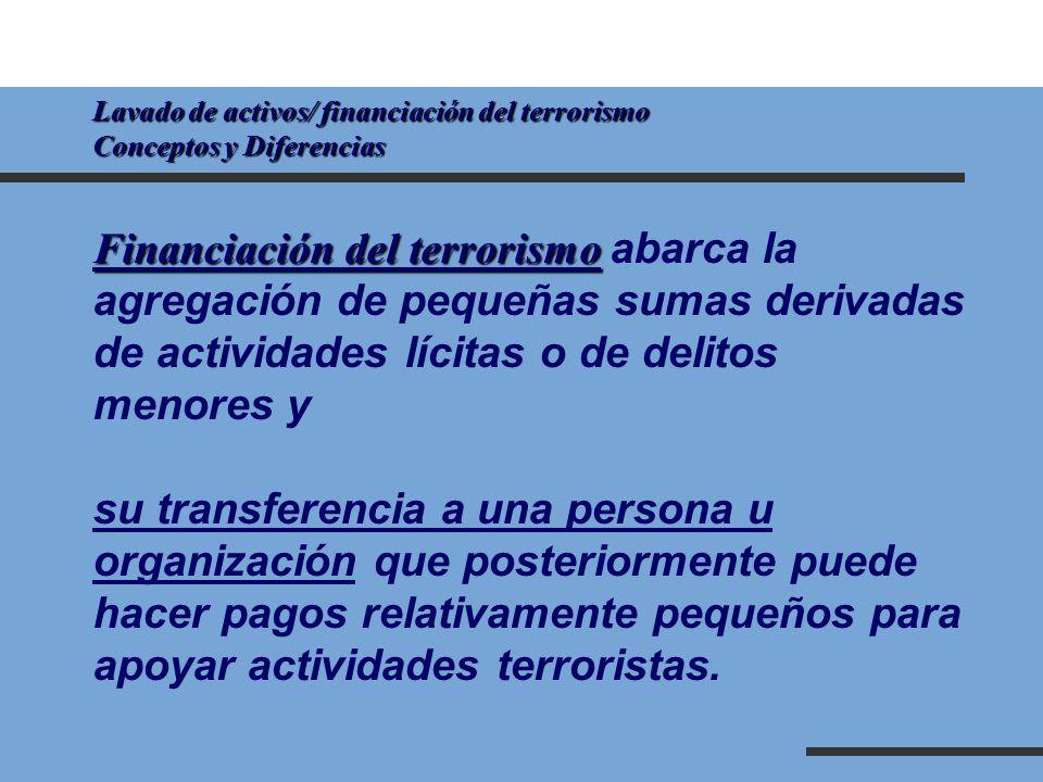 Lavado de activos/ financiación del terrorismo Conceptos y Diferencias Financiación del terrorismo Financiación del terrorismo abarca la agregación de