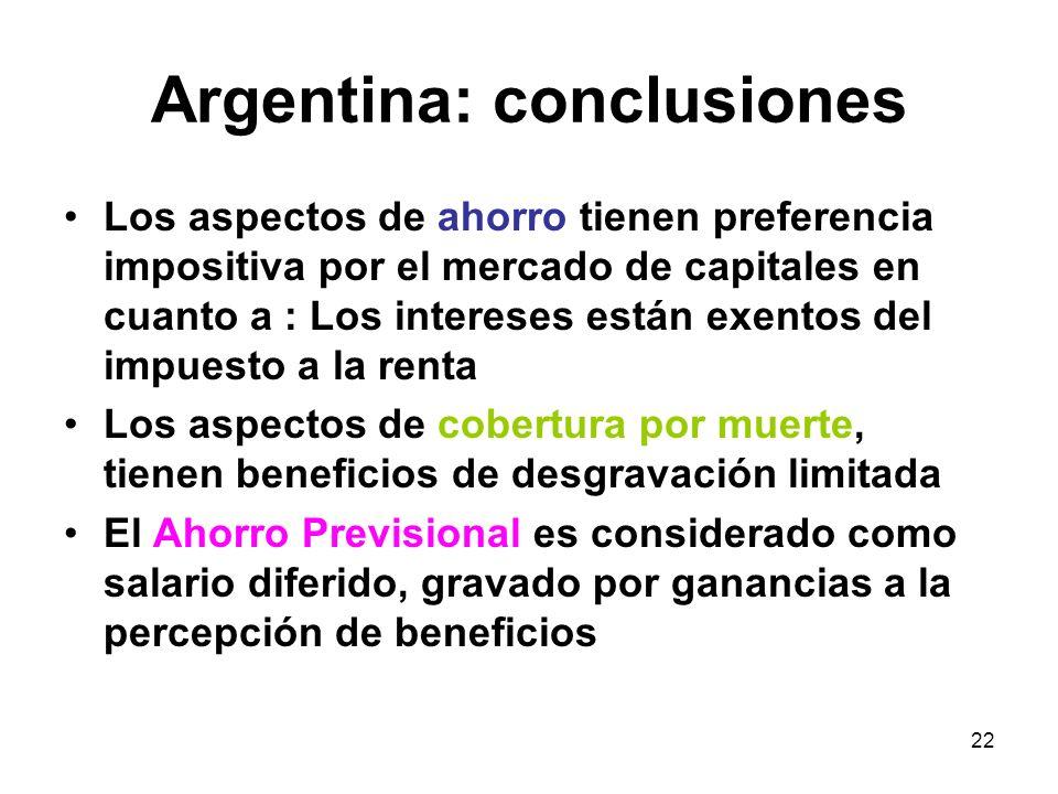 22 Argentina: conclusiones Los aspectos de ahorro tienen preferencia impositiva por el mercado de capitales en cuanto a : Los intereses están exentos