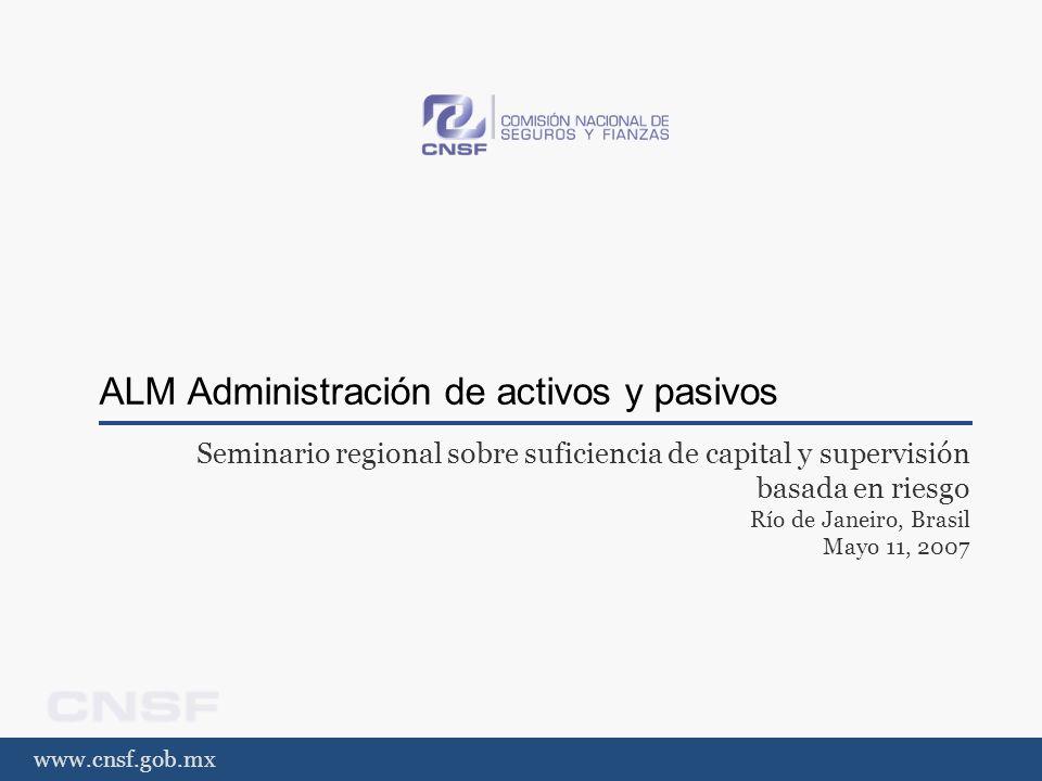 www.cnsf.gob.mx Estándar ALM Requerimiento IV El asegurador debe examinar todos los riesgos requiriendo la coordinación de sus activos y pasivos.