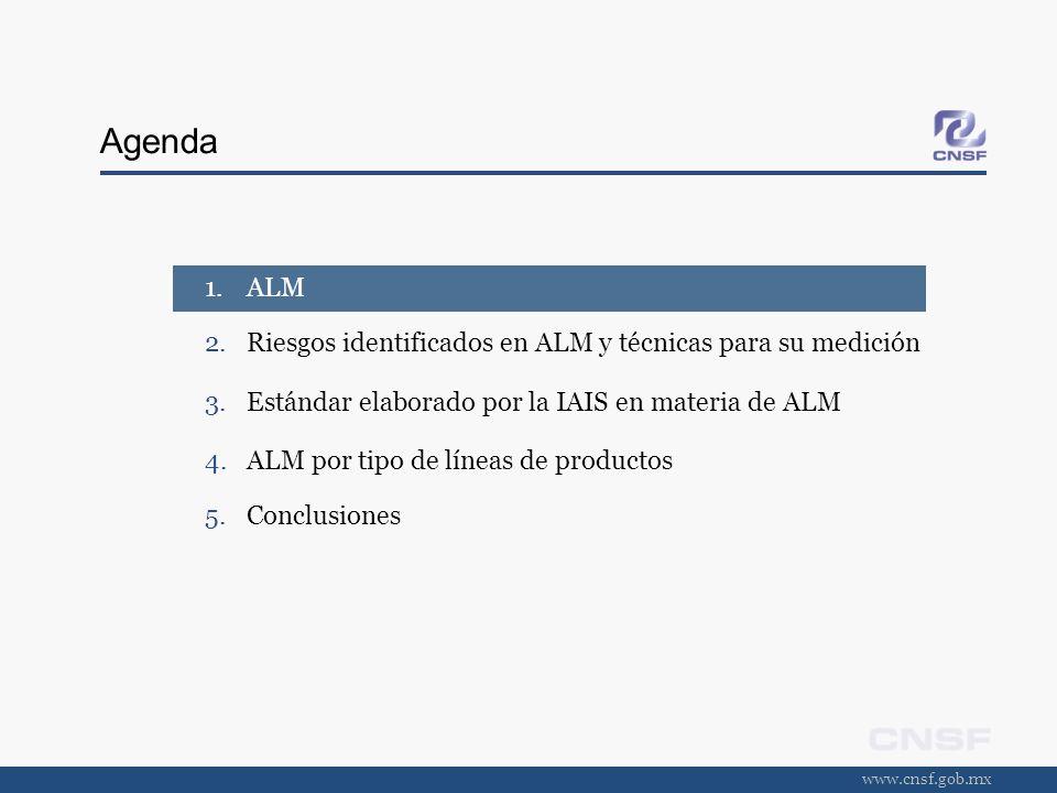 www.cnsf.gob.mx Estándar ALM Requerimiento V El asegurador debe utilizar medidas apropiadas para cuantificar su exposición al riesgo de mercado y al riesgo de crédito respectivo.