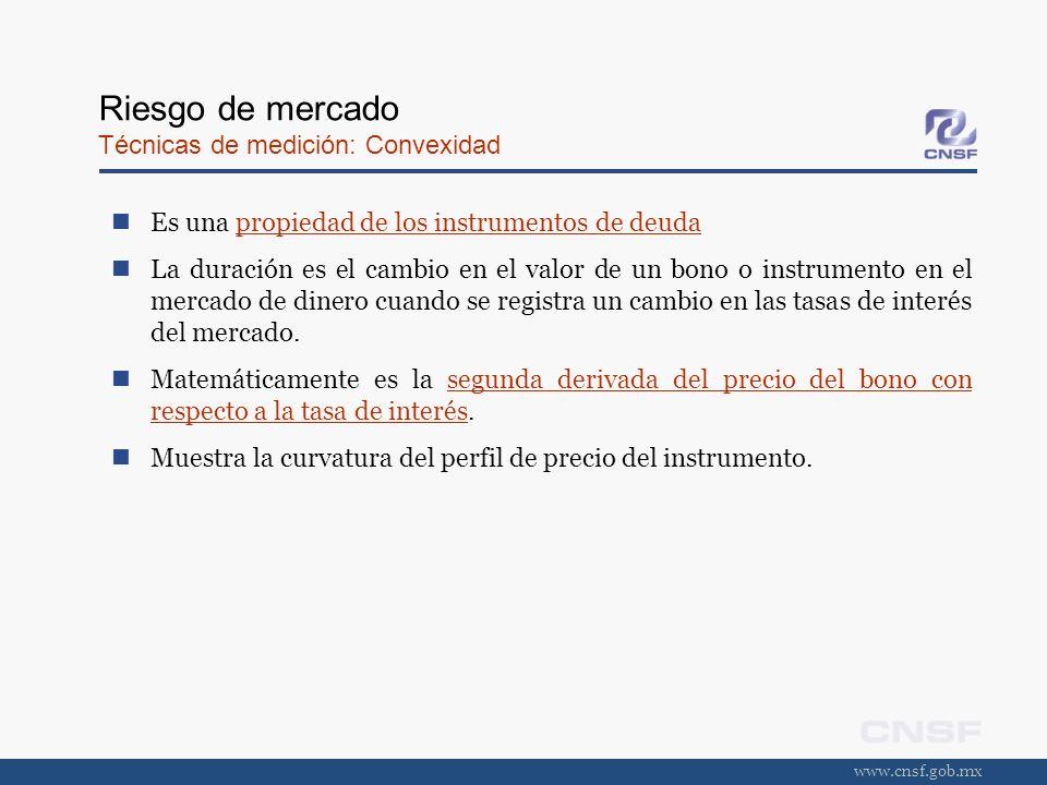 www.cnsf.gob.mx Riesgo de mercado Técnicas de medición: Convexidad Es una propiedad de los instrumentos de deuda La duración es el cambio en el valor