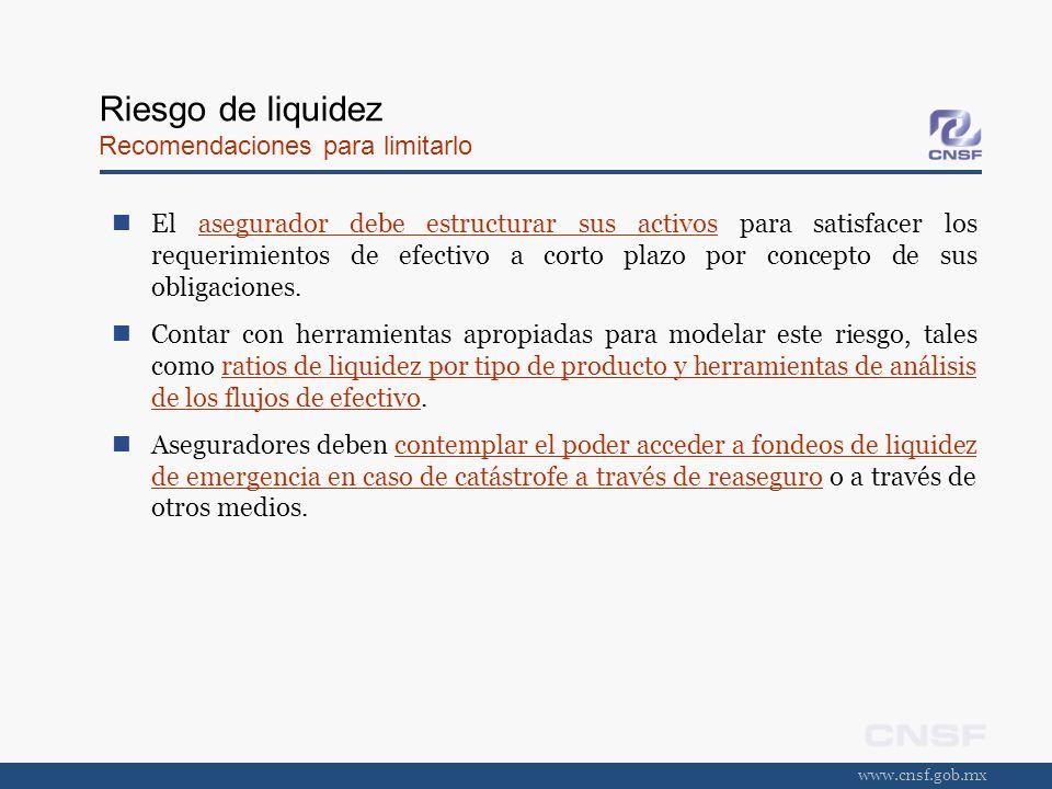 www.cnsf.gob.mx Riesgo de liquidez Recomendaciones para limitarlo El asegurador debe estructurar sus activos para satisfacer los requerimientos de efe