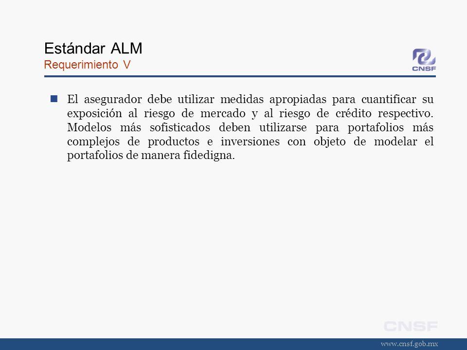 www.cnsf.gob.mx Estándar ALM Requerimiento V El asegurador debe utilizar medidas apropiadas para cuantificar su exposición al riesgo de mercado y al r