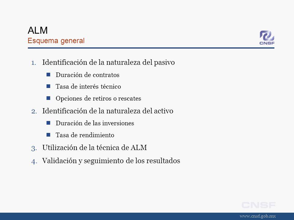 www.cnsf.gob.mx ALM Esquema general 1.Identificación de la naturaleza del pasivo Duración de contratos Tasa de interés técnico Opciones de retiros o r