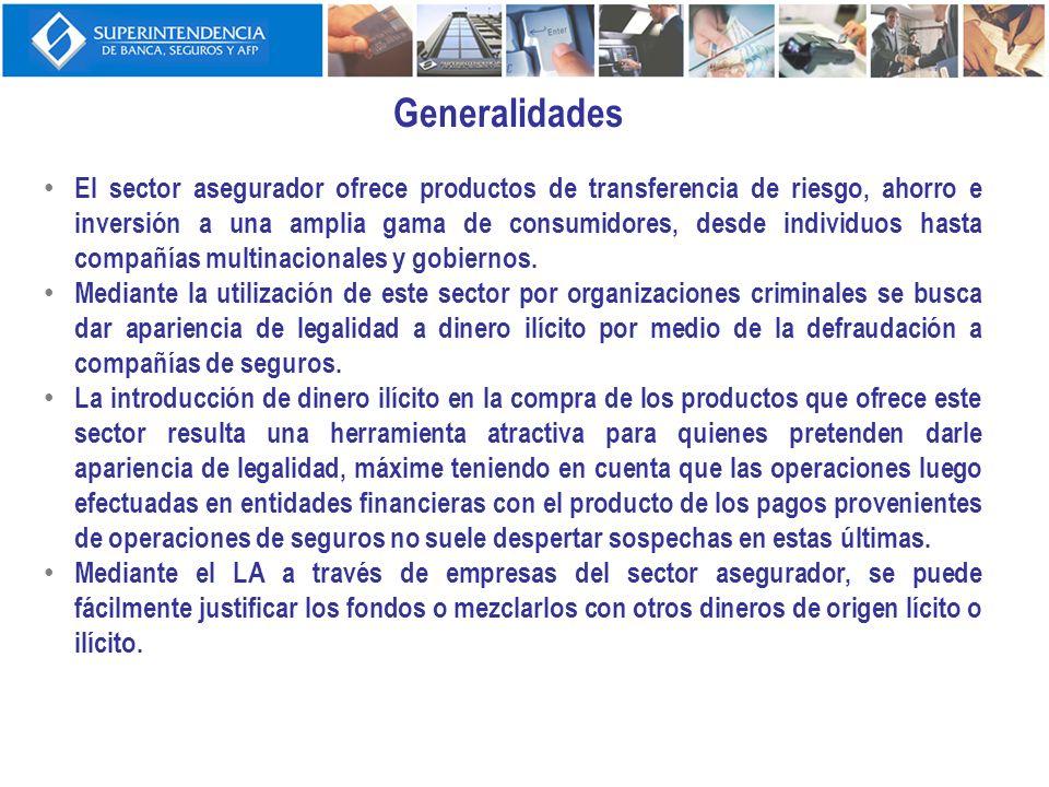 Generalidades El sector asegurador ofrece productos de transferencia de riesgo, ahorro e inversión a una amplia gama de consumidores, desde individuos