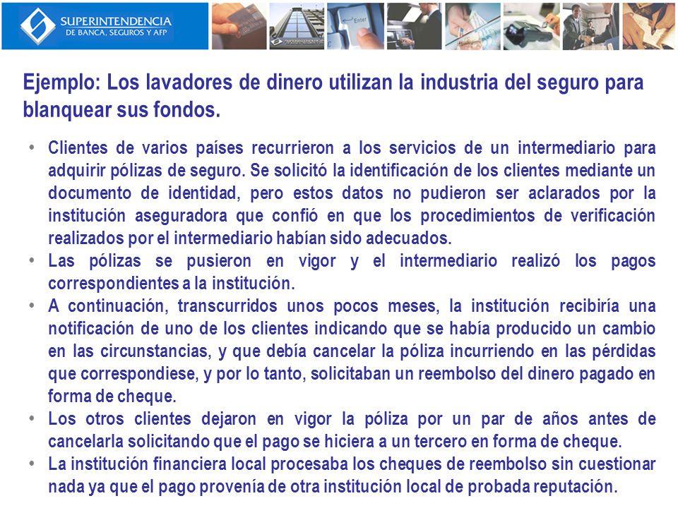 Ejemplo: Los lavadores de dinero utilizan la industria del seguro para blanquear sus fondos. Clientes de varios países recurrieron a los servicios de