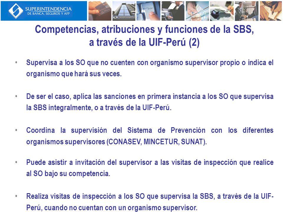 Competencias, atribuciones y funciones de la SBS, a través de la UIF-Perú (2) Supervisa a los SO que no cuenten con organismo supervisor propio o indi