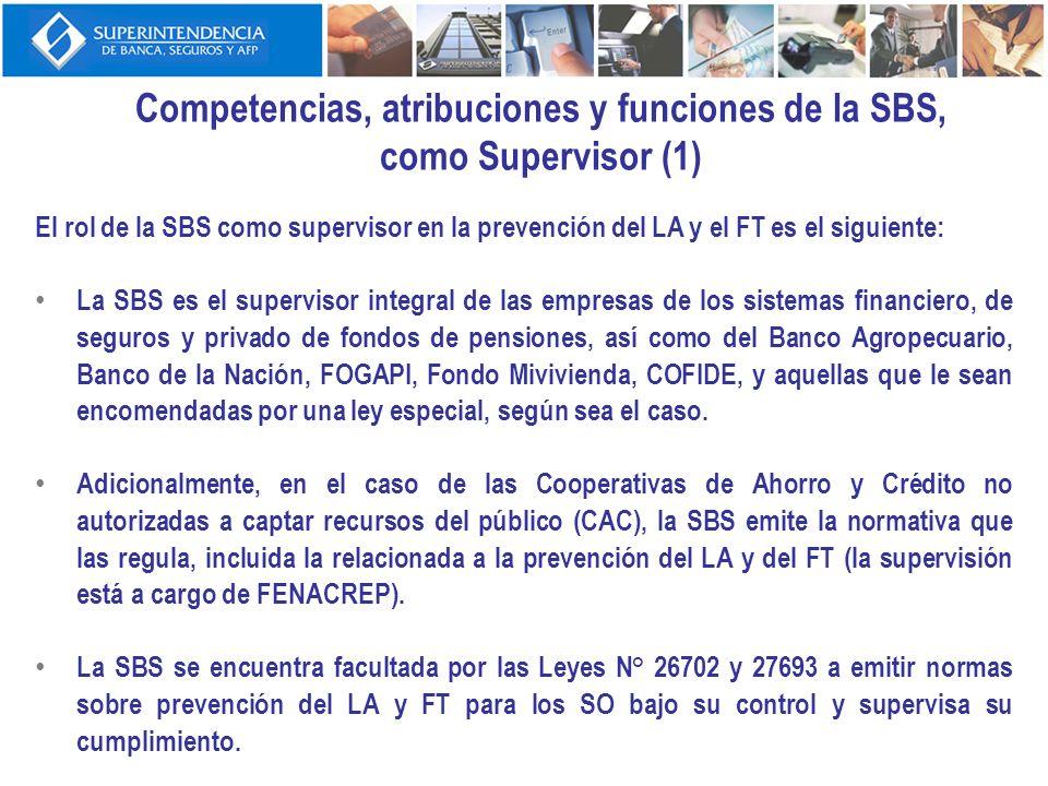 Competencias, atribuciones y funciones de la SBS, como Supervisor (2) En materia de la lucha contra el LA y el FT, la SBS ha emitido para todas las empresas antes mencionadas las Normas Complementarias para la Prevención del LA y FT, aprobadas por Resolución SBS N°838-2008.