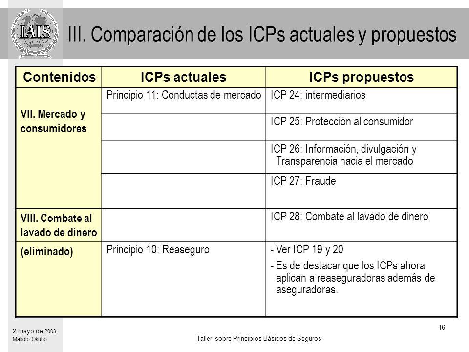 Taller sobre Principios Básicos de Seguros 16 2 mayo de 2003 Makoto Okubo ContenidosICPs actualesICPs propuestos VII.
