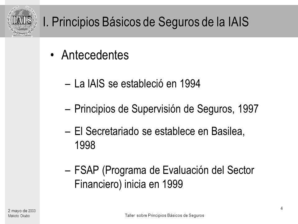 Taller sobre Principios Básicos de Seguros 4 2 mayo de 2003 Makoto Okubo Antecedentes –La IAIS se estableció en 1994 –Principios de Supervisión de Seguros, 1997 –El Secretariado se establece en Basilea, 1998 –FSAP (Programa de Evaluación del Sector Financiero) inicia en 1999 I.