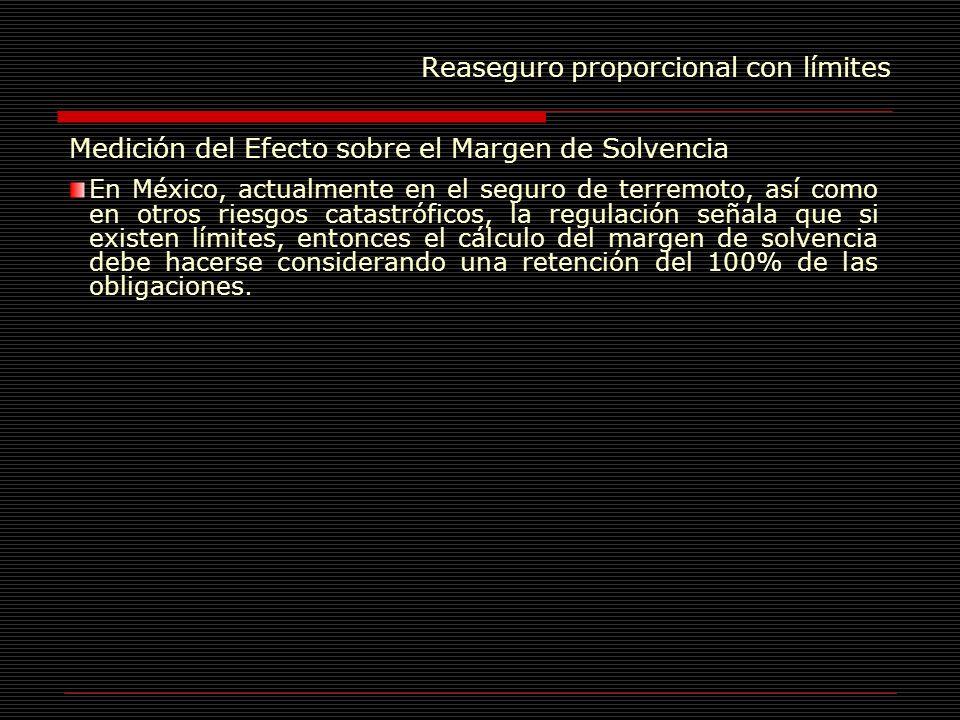 Reaseguro proporcional con límites Medición del Efecto sobre el Margen de Solvencia En México, actualmente en el seguro de terremoto, así como en otro