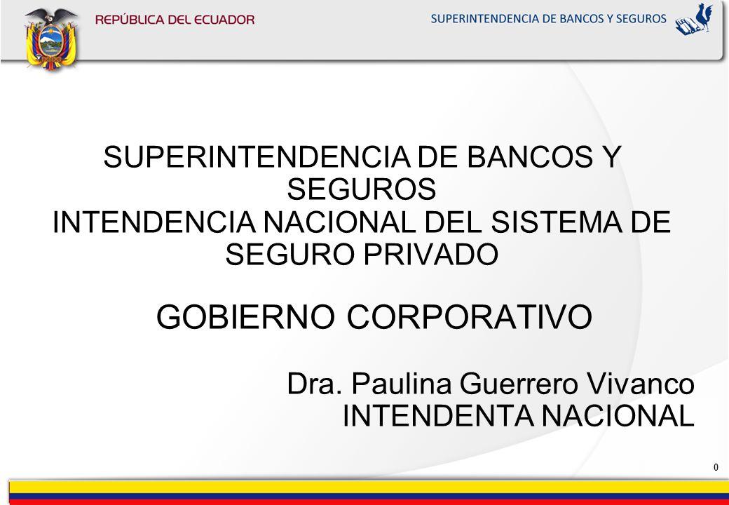 0 SUPERINTENDENCIA DE BANCOS Y SEGUROS INTENDENCIA NACIONAL DEL SISTEMA DE SEGURO PRIVADO GOBIERNO CORPORATIVO Dra.
