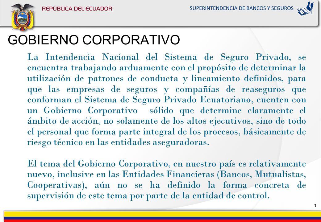 0 SUPERINTENDENCIA DE BANCOS Y SEGUROS INTENDENCIA NACIONAL DEL SISTEMA DE SEGURO PRIVADO GOBIERNO CORPORATIVO Dra. Paulina Guerrero Vivanco INTENDENT