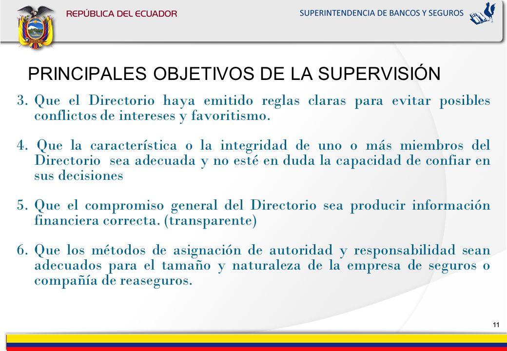 10 PRINCIPALES OBJETIVOS DE LA SUPERVISIÓN Los supervisores de seguros, deben tener como objetivos el supervisar que el Directorio cumplan con los sig