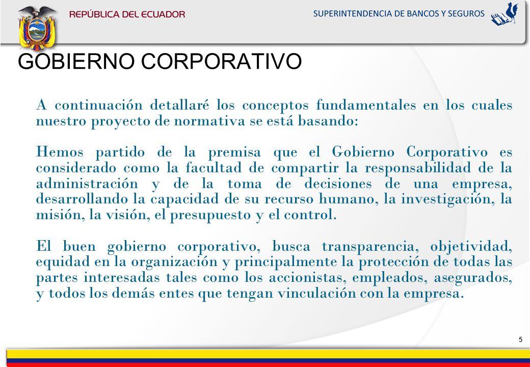 4 El marco sobre el cual se va a definir el Gobierno Corporativo, está detallándose en el Manual de Supervisión In-Situ que ha sido un logro de todos