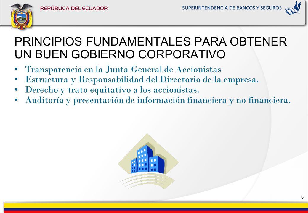 6 PRINCIPIOS FUNDAMENTALES PARA OBTENER UN BUEN GOBIERNO CORPORATIVO Transparencia en la Junta General de Accionistas Estructura y Responsabilidad del Directorio de la empresa.