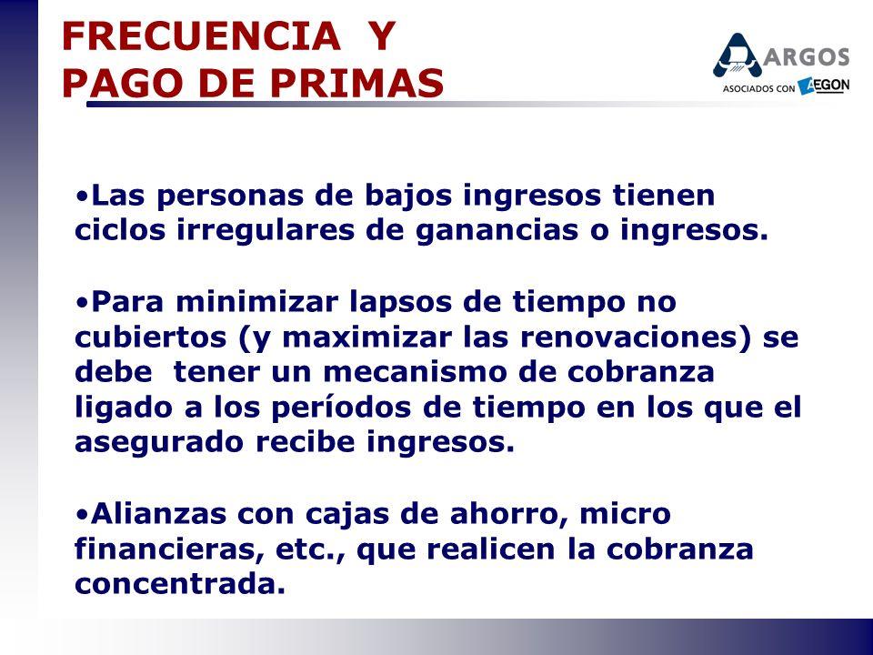 FRECUENCIA Y PAGO DE PRIMAS Las personas de bajos ingresos tienen ciclos irregulares de ganancias o ingresos. Para minimizar lapsos de tiempo no cubie