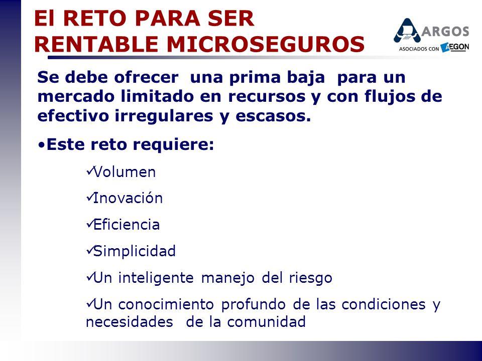 El RETO PARA SER RENTABLE MICROSEGUROS Se debe ofrecer una prima baja para un mercado limitado en recursos y con flujos de efectivo irregulares y esca