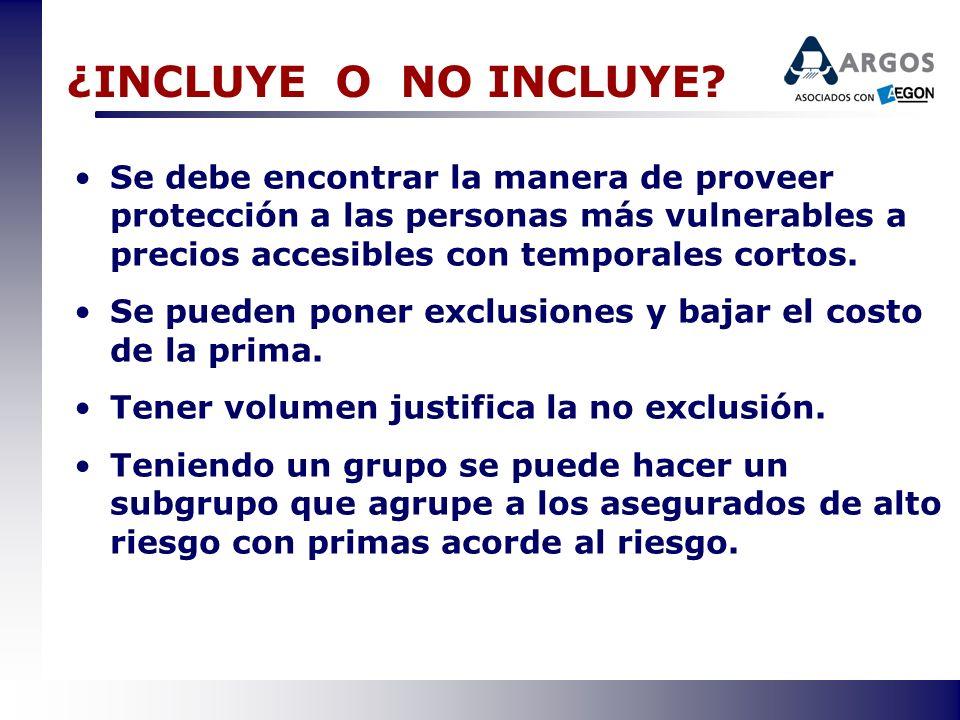 ¿INCLUYE O NO INCLUYE? Se debe encontrar la manera de proveer protección a las personas más vulnerables a precios accesibles con temporales cortos. Se