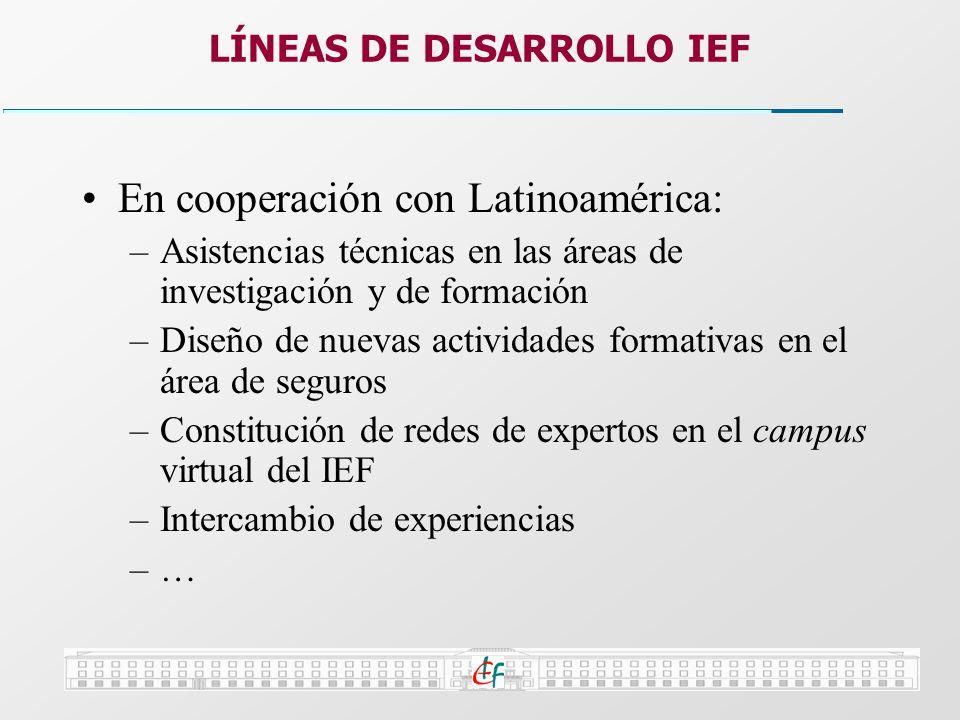 En cooperación con Latinoamérica: –Asistencias técnicas en las áreas de investigación y de formación –Diseño de nuevas actividades formativas en el ár