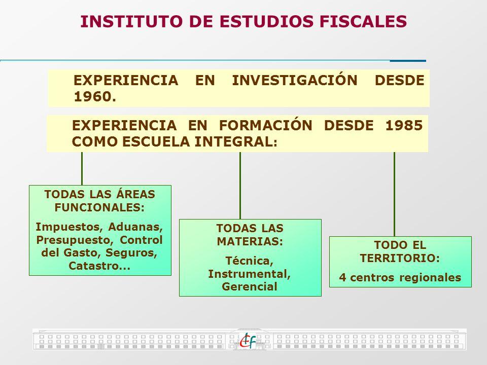 INSTITUTO DE ESTUDIOS FISCALES TODAS LAS ÁREAS FUNCIONALES: Impuestos, Aduanas, Presupuesto, Control del Gasto, Seguros, Catastro... TODAS LAS MATERIA