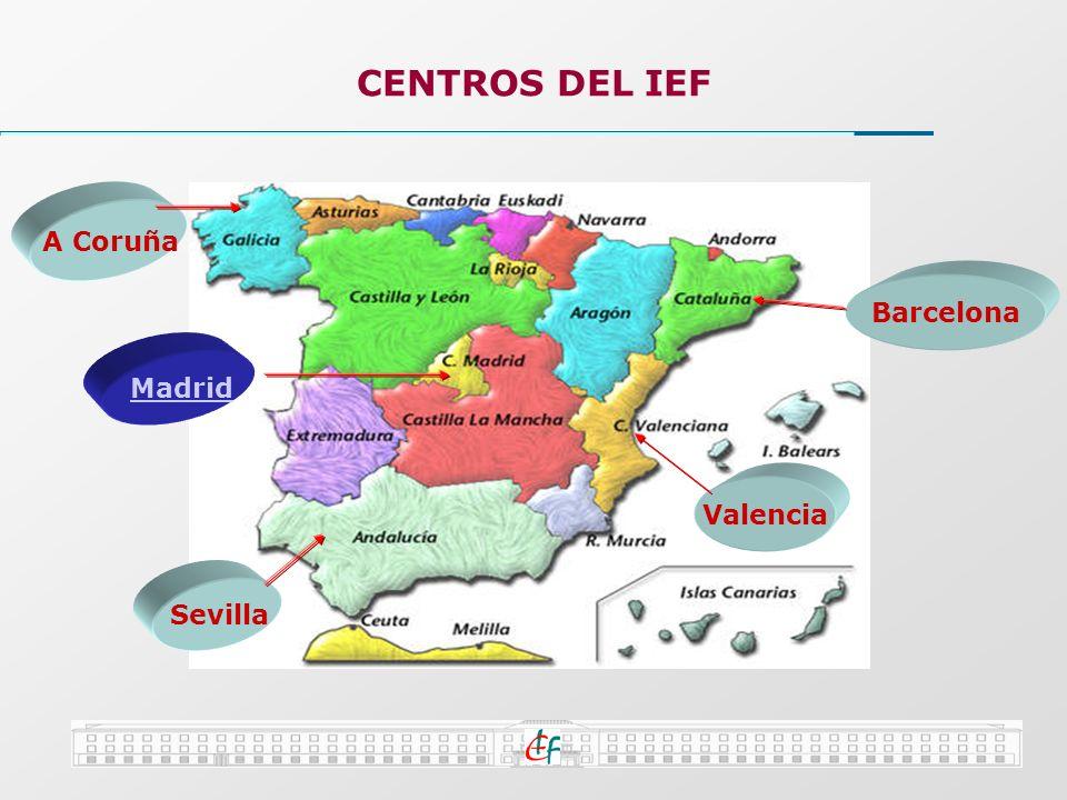 CENTROS DEL IEF A Coruña Barcelona Valencia Sevilla Madrid
