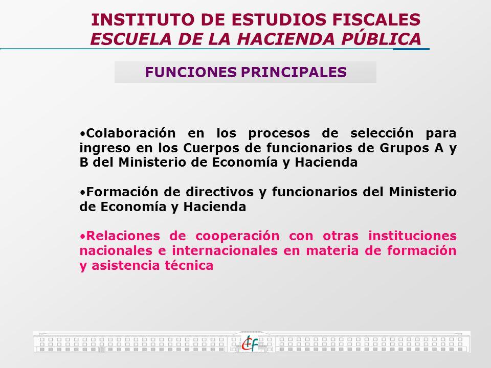 INSTITUTO DE ESTUDIOS FISCALES ESCUELA DE LA HACIENDA PÚBLICA FUNCIONES PRINCIPALES Colaboración en los procesos de selección para ingreso en los Cuer