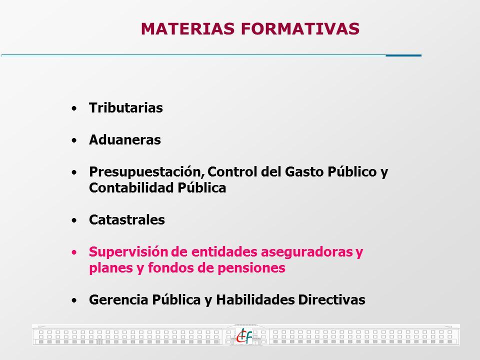 Tributarias Aduaneras Presupuestación, Control del Gasto Público y Contabilidad Pública Catastrales Supervisión de entidades aseguradoras y planes y f