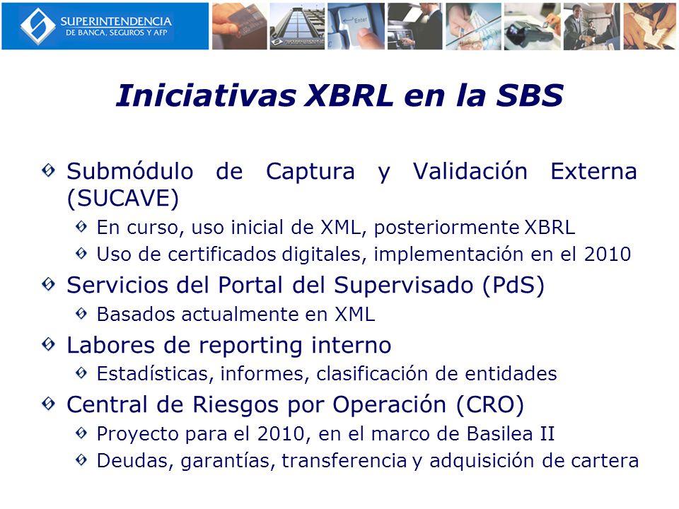 Iniciativas XBRL en la SBS Submódulo de Captura y Validación Externa (SUCAVE) En curso, uso inicial de XML, posteriormente XBRL Uso de certificados di