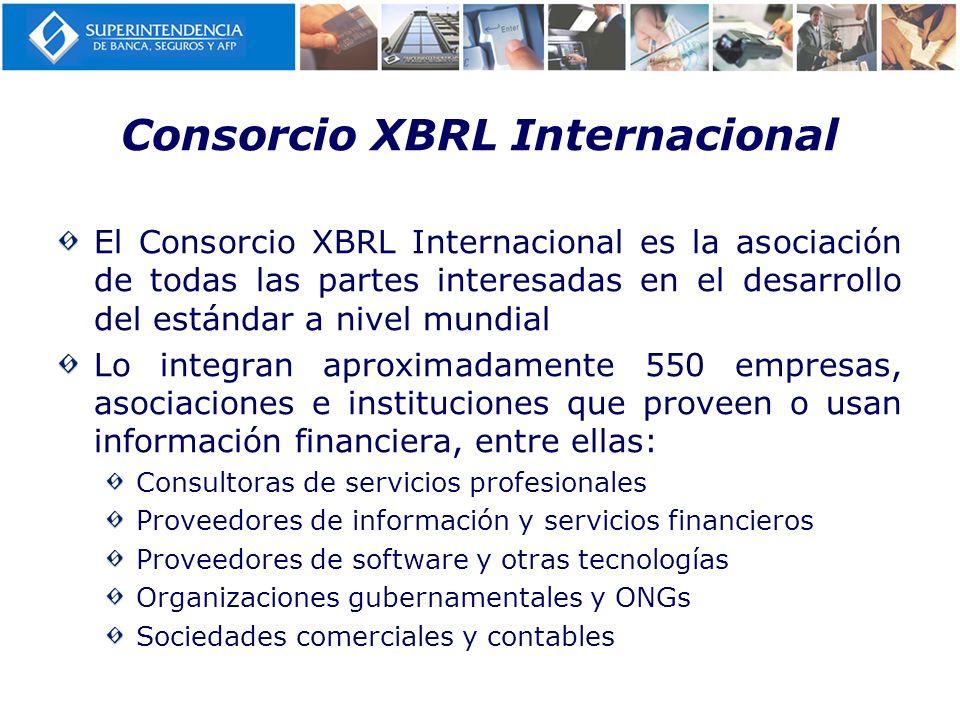 Consorcio XBRL Internacional El Consorcio XBRL Internacional es la asociación de todas las partes interesadas en el desarrollo del estándar a nivel mu