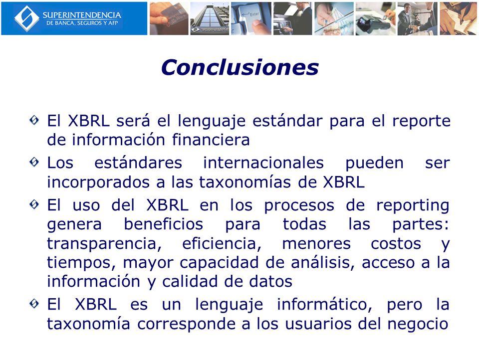 Conclusiones El XBRL será el lenguaje estándar para el reporte de información financiera Los estándares internacionales pueden ser incorporados a las
