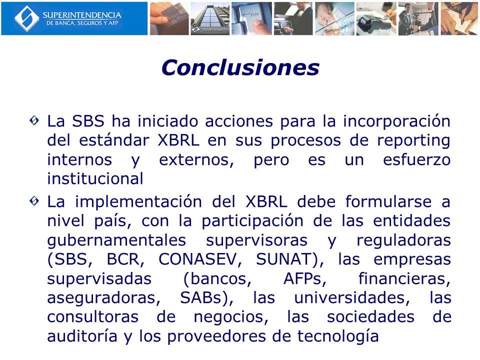Conclusiones La SBS ha iniciado acciones para la incorporación del estándar XBRL en sus procesos de reporting internos y externos, pero es un esfuerzo
