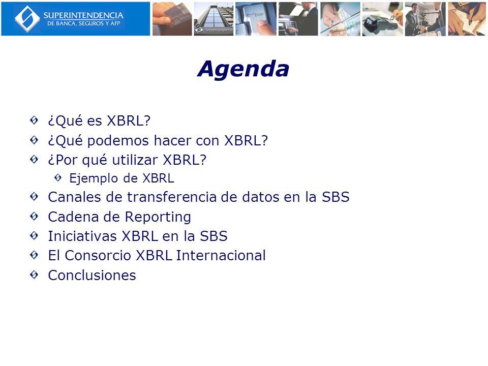 Agenda ¿Qué es XBRL? ¿Qué podemos hacer con XBRL? ¿Por qué utilizar XBRL? Ejemplo de XBRL Canales de transferencia de datos en la SBS Cadena de Report