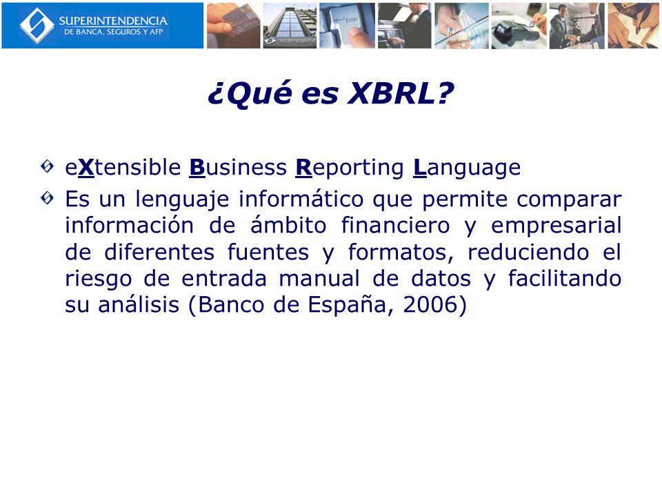 ¿Qué es XBRL? eXtensible Business Reporting Language Es un lenguaje informático que permite comparar información de ámbito financiero y empresarial de
