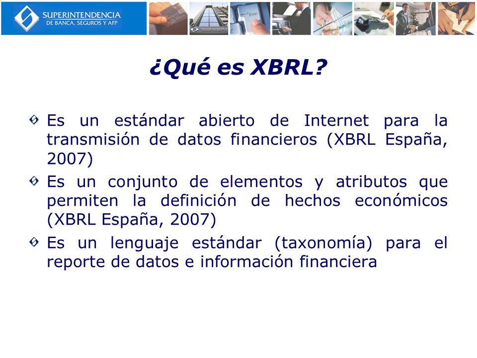 ¿Qué es XBRL? Es un estándar abierto de Internet para la transmisión de datos financieros (XBRL España, 2007) Es un conjunto de elementos y atributos