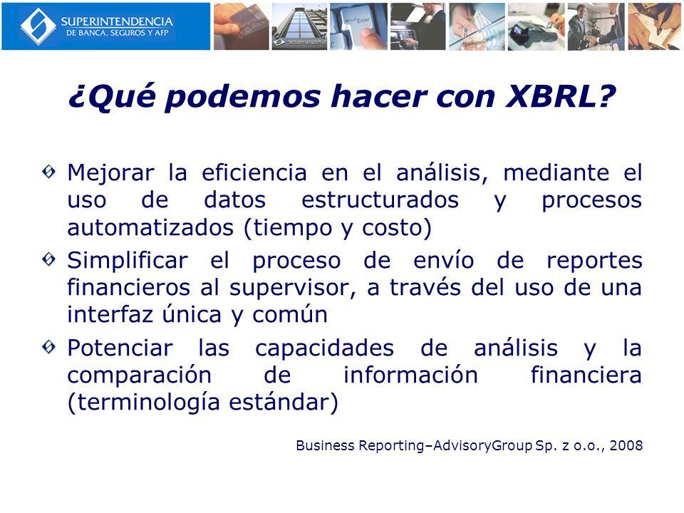 ¿Qué podemos hacer con XBRL? Mejorar la eficiencia en el análisis, mediante el uso de datos estructurados y procesos automatizados (tiempo y costo) Si