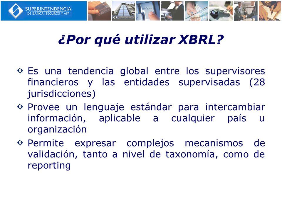 ¿Por qué utilizar XBRL? Es una tendencia global entre los supervisores financieros y las entidades supervisadas (28 jurisdicciones) Provee un lenguaje