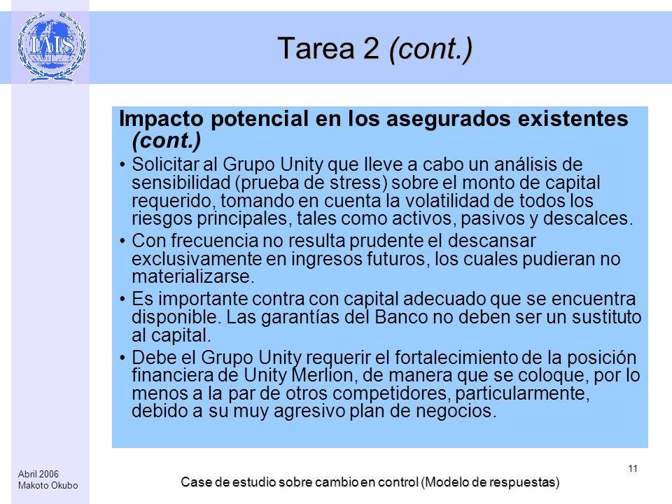 Case de estudio sobre cambio en control (Modelo de respuestas) 11 Abril 2006 Makoto Okubo Tarea 2 (cont.) Impacto potencial en los asegurados existent