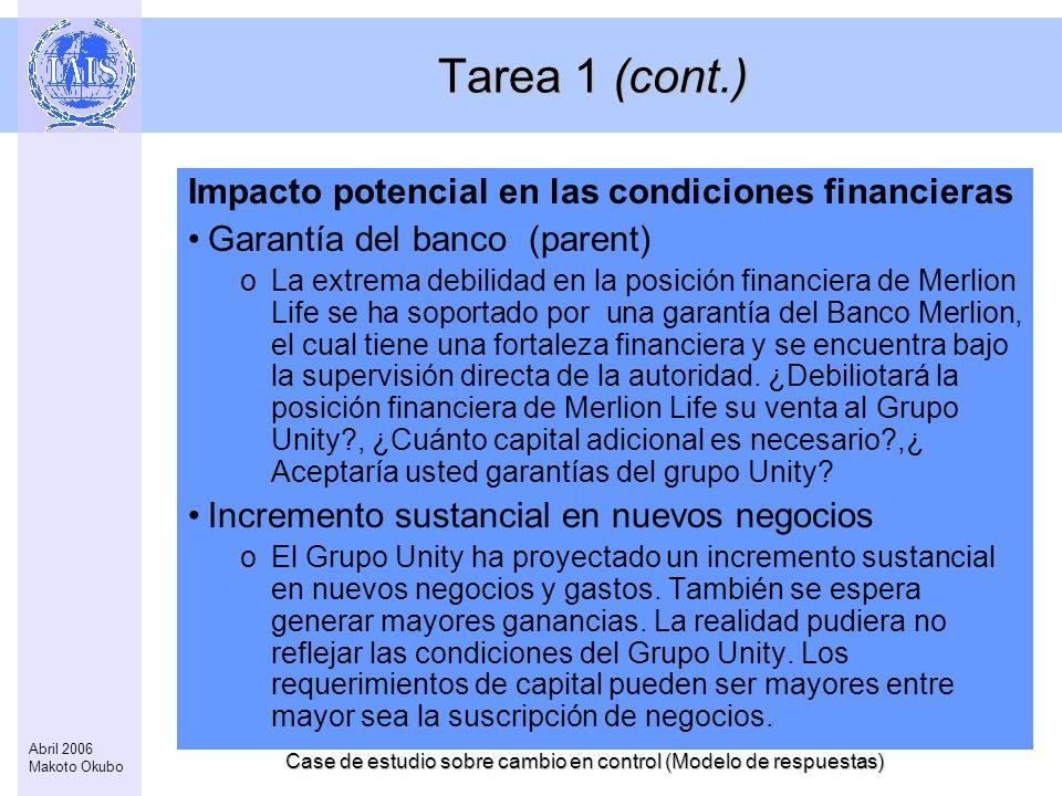 Case de estudio sobre cambio en control (Modelo de respuestas) 3 Abril 2006 Makoto Okubo Tarea 1 (cont.) Impacto potencial en las condiciones financie