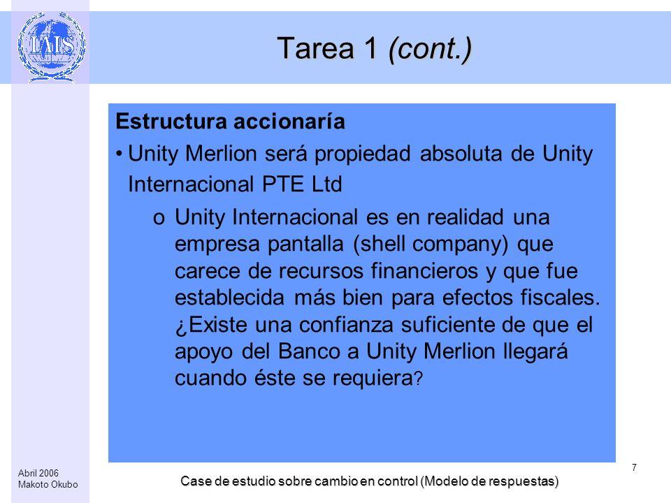 Case de estudio sobre cambio en control (Modelo de respuestas) 7 Abril 2006 Makoto Okubo Tarea 1 (cont.) Estructura accionaría Unity Merlion será prop