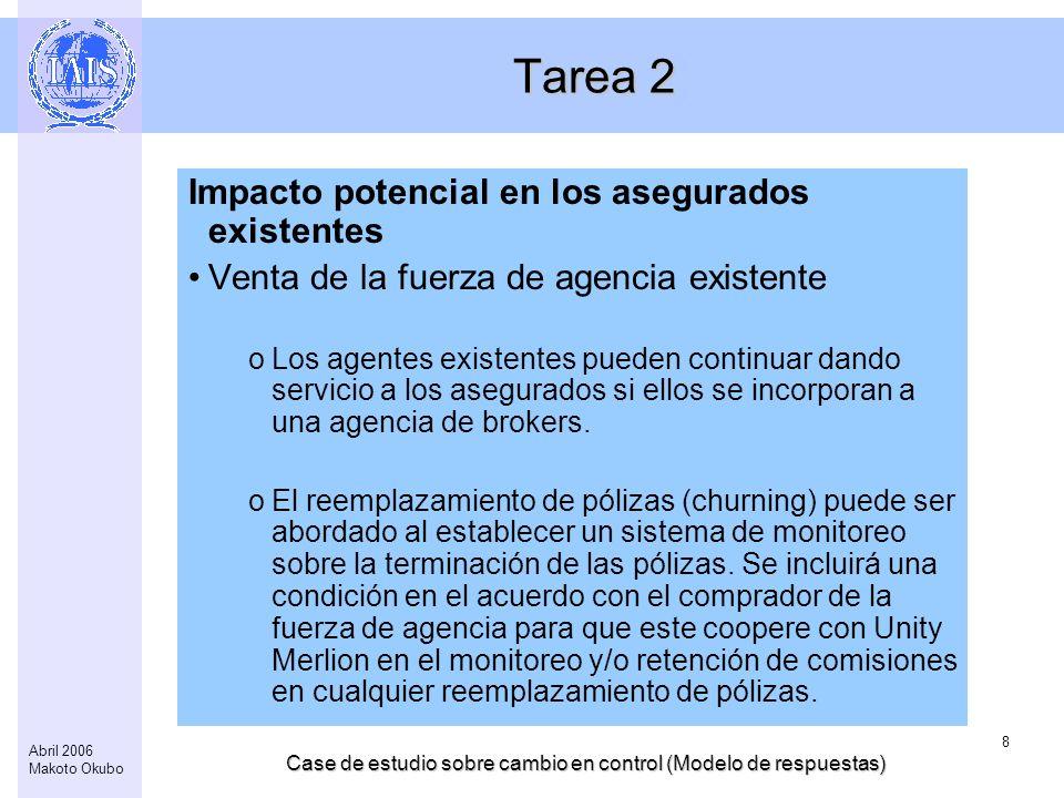 Case de estudio sobre cambio en control (Modelo de respuestas) 8 Abril 2006 Makoto Okubo Tarea 2 Impacto potencial en los asegurados existentes Venta