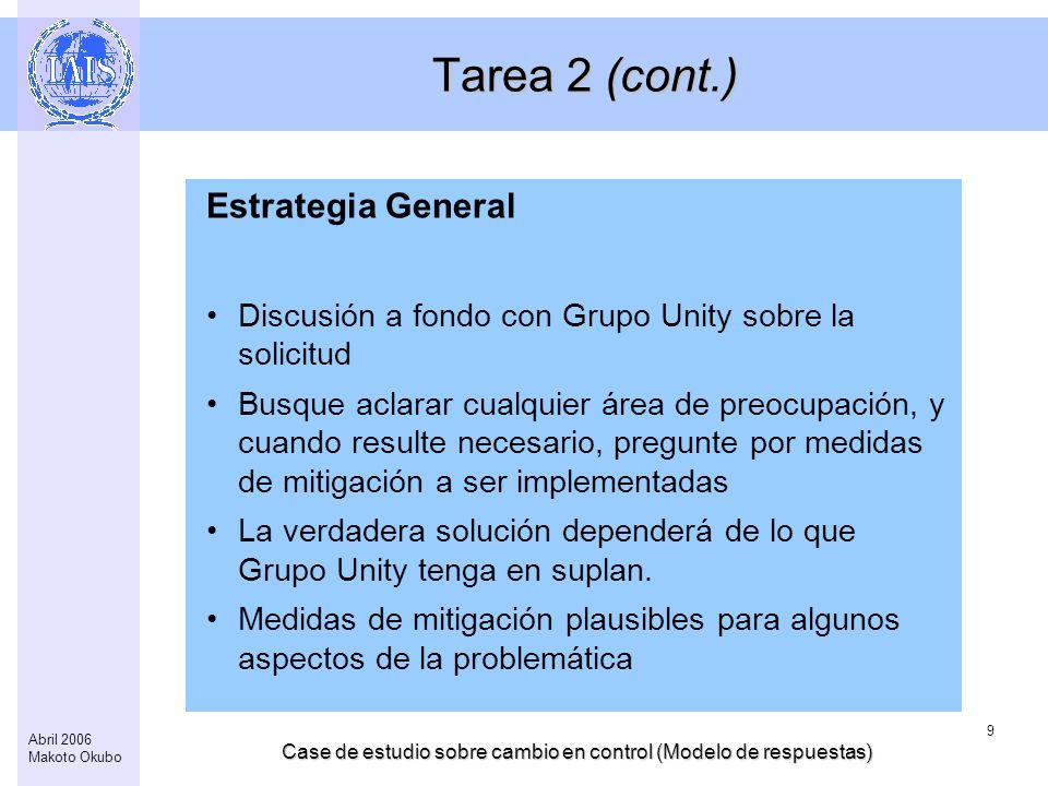Case de estudio sobre cambio en control (Modelo de respuestas) 9 Abril 2006 Makoto Okubo Tarea 2 (cont.) Estrategia General Discusión a fondo con Grup