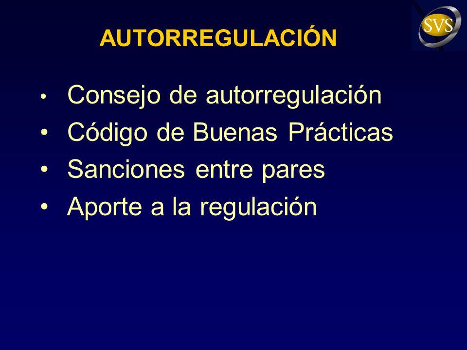 AUTORREGULACIÓN Consejo de autorregulación Código de Buenas Prácticas Sanciones entre pares Aporte a la regulación