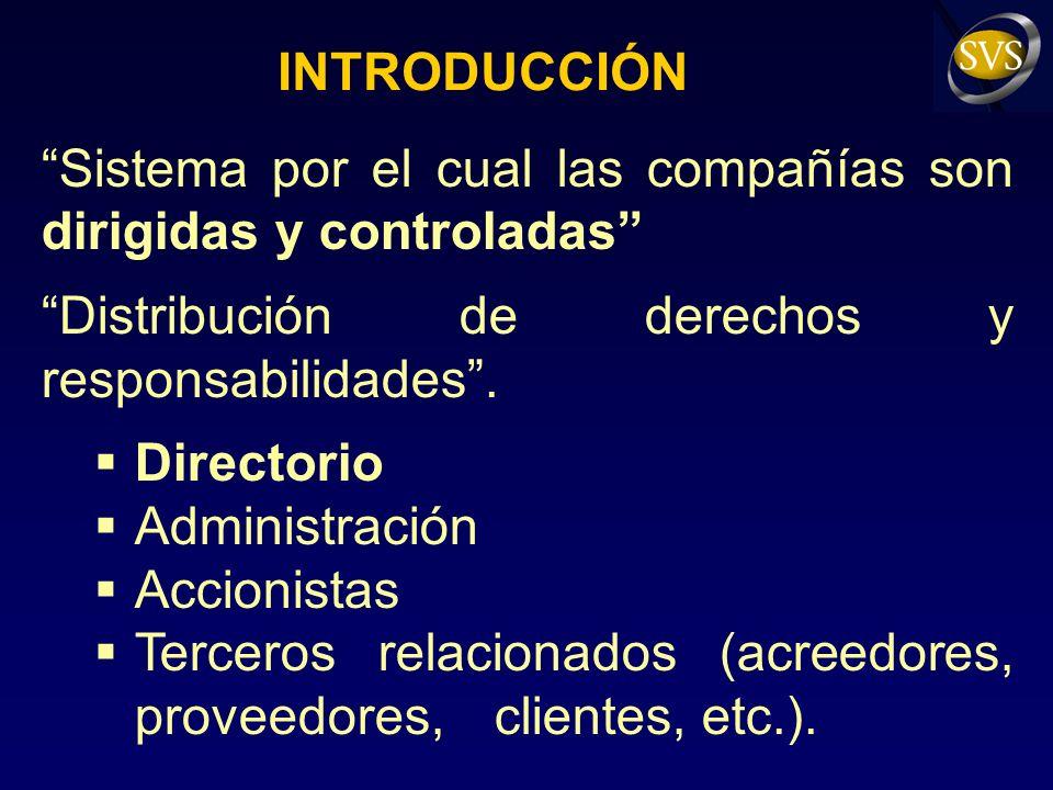 INTRODUCCIÓN Sistema por el cual las compañías son dirigidas y controladas Distribución de derechos y responsabilidades.