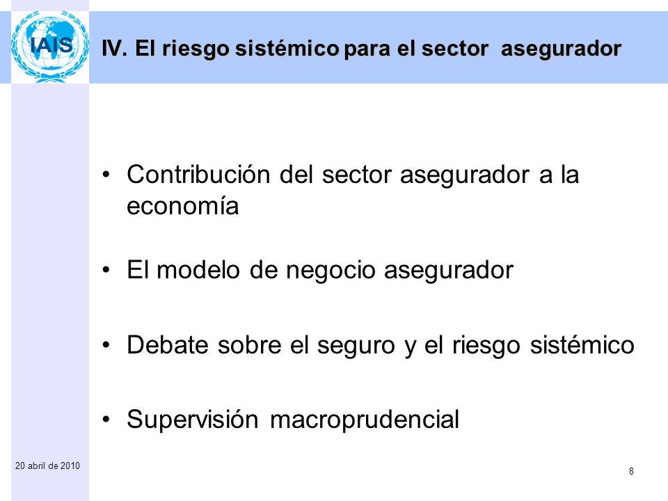 9 20 abril de 2010 Asociación Internacional de Supervisores de Seguros (IAIS) Preguntas y respuestas www.iaisweb.org