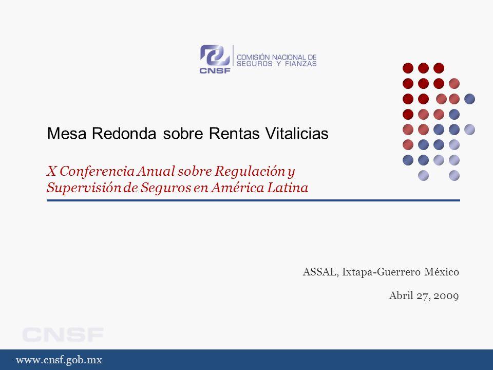 www.cnsf.gob.mx Mesa Redonda sobre Rentas Vitalicias Desarrollo y desafío de los seguros de pensiones derivados de las leyes de las seguridad social: la experiencia mexicana ASSAL, Ixtapa-Guerrero México Abril 27, 2009
